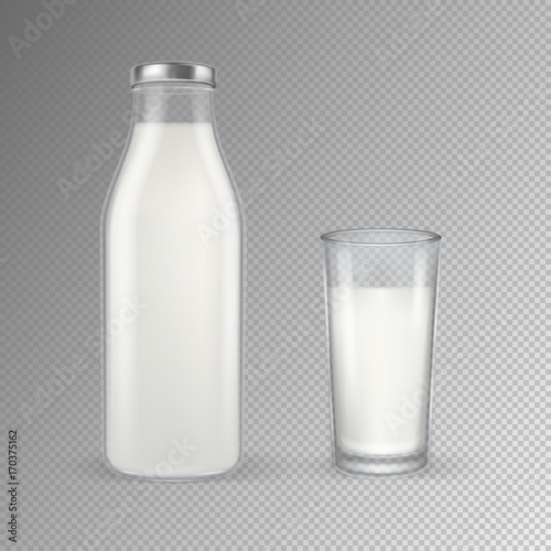 Fotografie, Obraz  Vector realistic transparent closed full glass milk bottle and glass with milk set closeup isolated on transparent background
