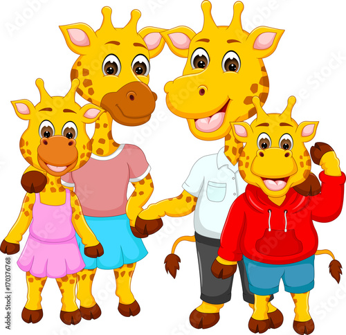Photo Stands Kids happy family of giraffe cartoons for you design