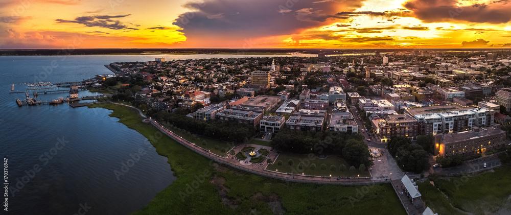 Fototapety, obrazy: Charleston fountain from above