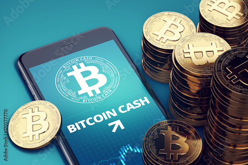 Smartphone with Bitcoin Cash growth chart on-screen among