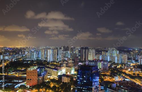 Photo  cityscape of Singapore city at night
