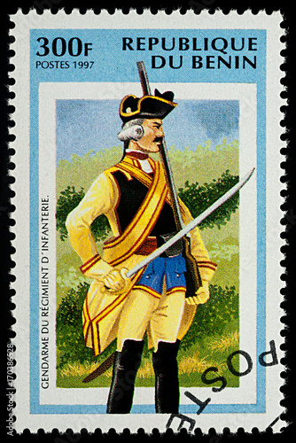 Fotografía  Infantry Gendarme on postage stamp