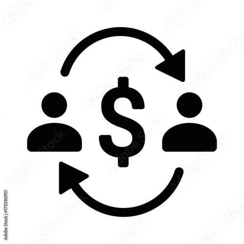 Money Transfer Between Two People With Dollar Sign Flat Vector Icon For S And Websites