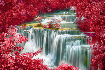 FototapetaLandscape of Huay Mae Kamin Waterfall, beautiful waterfall in deep forest at Kanchanaburi province, Thailand