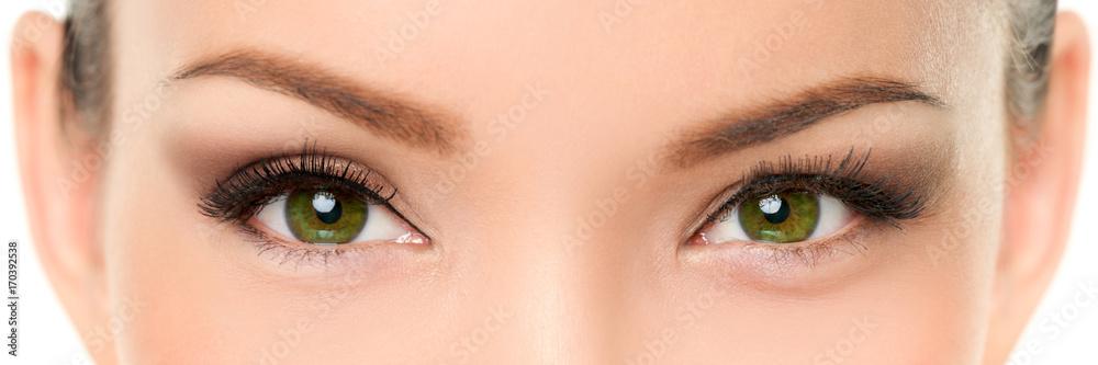 Fototapeta Green eyes Asian woman eyelashes makeup banner. Closeup of almond chinese eyes and eyebrows, with eyeshadow make-up and false eyelashes