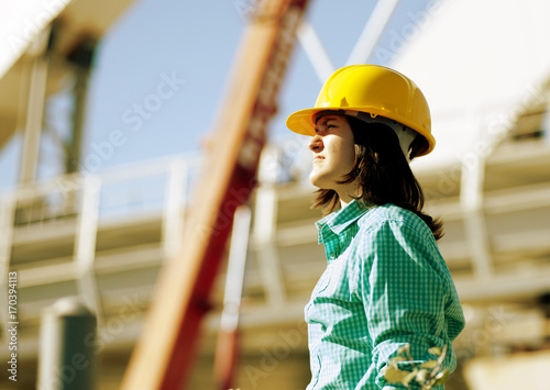 Girl student  practice on a construction site Canvas-taulu