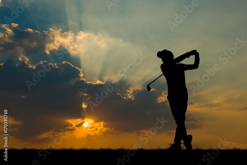Garden Poster Martial arts silhouette golfer playing golf during beautiful sunset