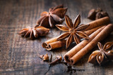 Traditional Christmas spices - star anise, cinnamon sticks and cloves for festive baking