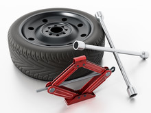 Spare Tyre, Jack And Wheel Wrench Isolated On White Background. 3D Illustration