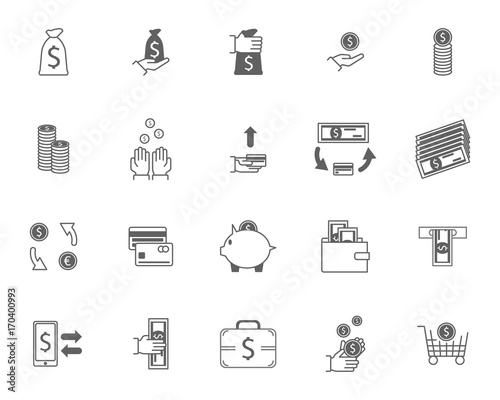 Symbol Of Money Finance Currency Black Icons Set Vector Buy This