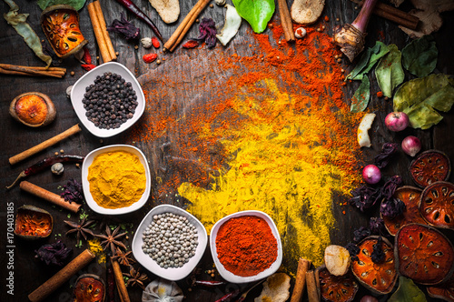 Plakát Selection of spices herbs and ingredients for cooking, Food background on wooden table, Top view, Thai cuisine