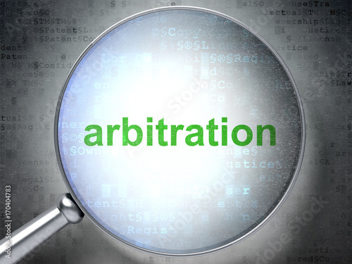 Photo Law concept: Arbitration with optical glass