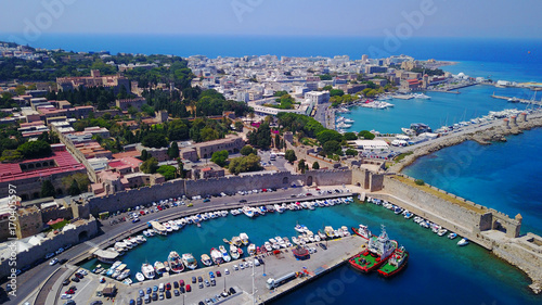 In de dag Schip August 2017: Aerial drone photo of iconic medieval fortified old town of Rodos island, Aegean, Dodecanese, Greece