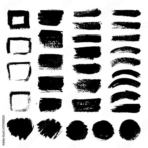 Tuinposter Vormen Ink black art brushes vector set. Dirty grunge painted strokes