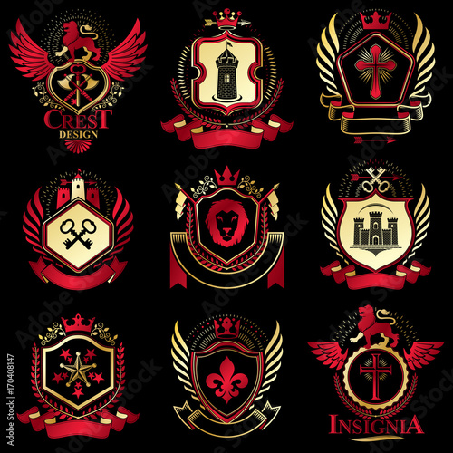 Fototapety, obrazy: Vector classy heraldic Coat of Arms. Collection of blazons stylized in vintage design and created with graphic elements, royal crowns and flags, stars, towers, armory, religious crosses.