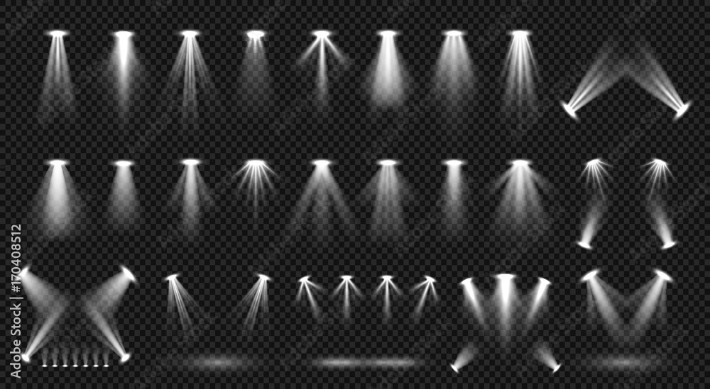 Fototapety, obrazy: Spot lighting isolated on transparent background vector collection. Bright scene illumination