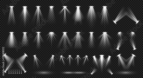 Aluminium Prints Light, shadow Spot lighting isolated on transparent background vector collection. Bright scene illumination