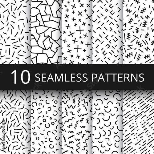 Fototapeten Künstlich Funky memphis seamless vector patterns. 80s and 90s school fashion black and white texture backgrounds with simple geometric shapes
