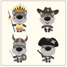 Set Isolated Wolf In Cartoon S...