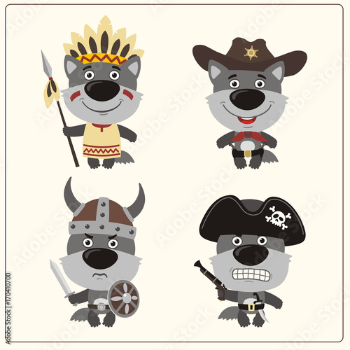 67390fcda49 Set isolated wolf in cartoon style for design children holiday and ...