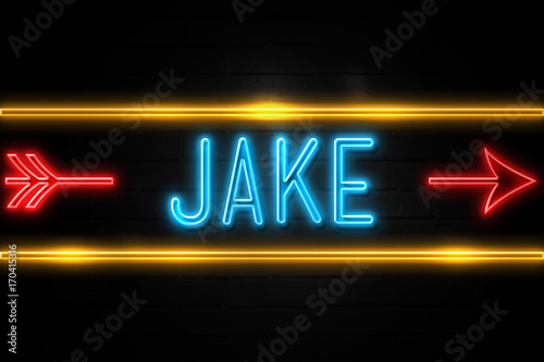 Jake  - fluorescent Neon Sign on brickwall Front view фототапет