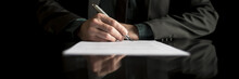 Wide Cropped View Of A Businessman In Business Suit Signing Contract