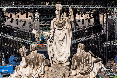 Concert stage in front of statues in Rome Canvas Print