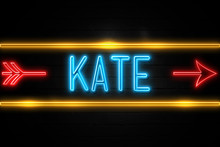 Kate  - Fluorescent Neon Sign On Brickwall Front View