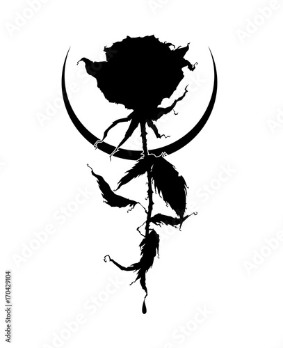 Beautiful rose silhouette with moon crescent  It can be used