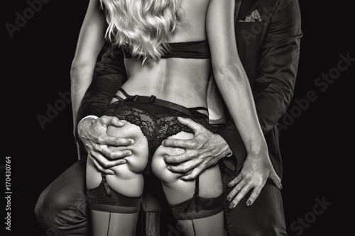 Photo  Rich man grab sexy blonde lover ass black and white