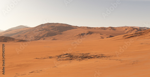 Fotobehang Baksteen Mars - the red planet. Martian landscape and dust in the atmosphere. 3D illustration