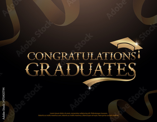 congratulations graduate logotype template with golden ribbons on