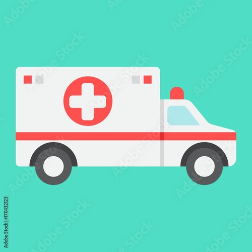 Ambulance flat icon, medicine and healthcare, transport sign vector graphics, a colorful solid pattern on a cyan background, eps 10 Wallpaper Mural