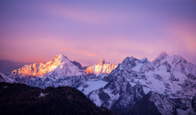 Pink And Purple Lights Over The Alps Peaks - Verbier, Alps, Canton Du Valais, Wallis, Switzerland