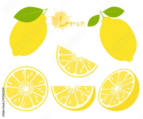 Fotografia Lemon with green leaves, slice citrus isolated on white background
