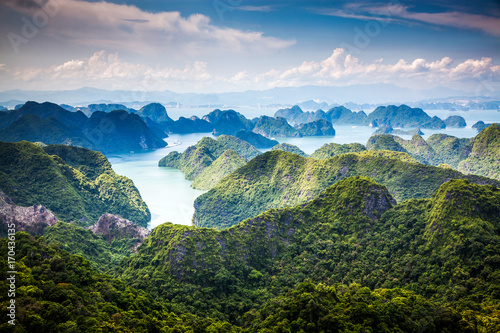 Printed kitchen splashbacks South Africa scenic view over Ha Long bay from Cat Ba island, Ha Long city in the background, UNESCO world heritage site, Vietnam