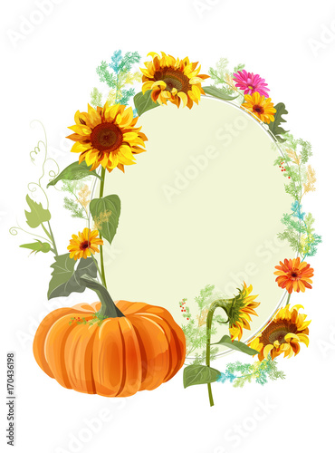autumn background orange pumpkin yellow sunflowers gerbera daisy