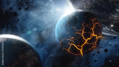 Obraz Abstract planet with huge cracks with lava in space. Elements of this image furnished by NASA. - fototapety do salonu