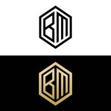 Initial Letters Logo Bm Black And Gold Monogram Hexagon Shape Vector