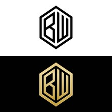 Initial Letters Logo Bw Black And Gold Monogram Hexagon Shape Vector