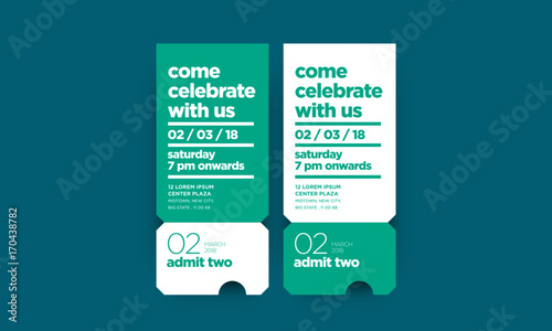 Fotografie, Obraz  Come Celebrate With Us Invitation in Flat Ticket Style Design With Venue Date an