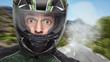 canvas print picture - Motorradfahrer mit weit aufgerissenen Augen