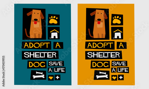 Adopt A Shelter Dog - Save A Life (Flat Style Vector Illustration Poster Design) Wallpaper Mural