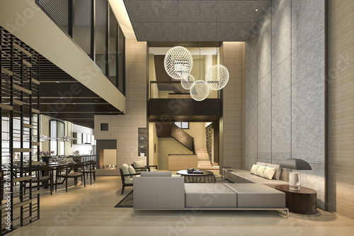 Fotografía  3d rendering luxury and modern living room and dining room