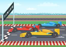 Race Cars On Finish Line. Sport Background Illustration