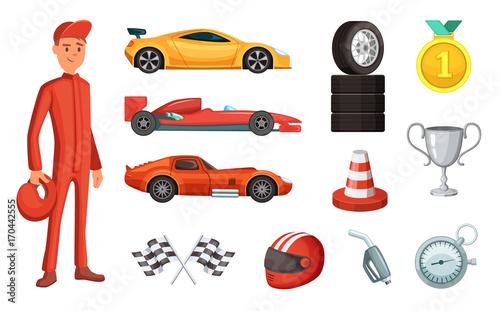 Obraz na plátně Sport cars and different racing icons set