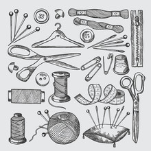 Different Tools For Sewing Wor...