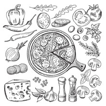 Illustrations Of Classical Italian Cuisine. Pizza And Different Ingredients. Fast Food Pictures Set