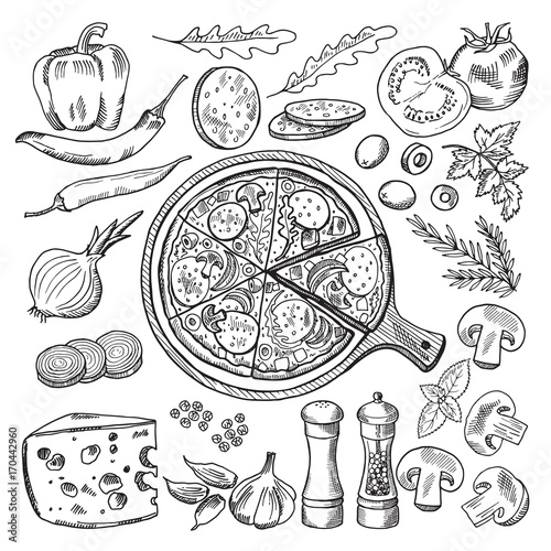 Cuadros en Lienzo Illustrations of classical italian cuisine