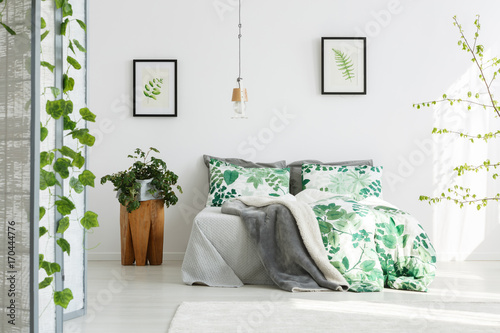 Fototapety, obrazy: King-size bed with floral bedding